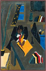 Douglass the intensive writer (as painted by Jacob Lawrence)